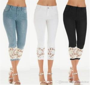Spitze-dünne Frauen Jeans Skinny Designer Capris Damen Jeans Fashion Solid Farbe Blau Hose