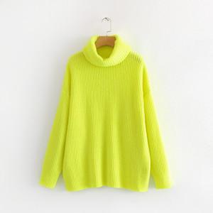 PERHAPS U женский неоновый свитер вязаный зеленый фуксия розовый сплошной водолазки пуловеры длинные случайные зима свободные M0027 Y190830