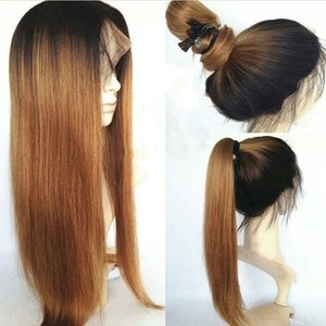 Fashion 150% Density Black Roots Ombre Blonde Long Straight Wig Can Wash Natural Ponytail Style Glueless Synthetic Lace Front Wigs Baby Hair