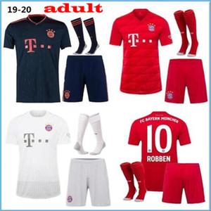 Equipaciones para adultos 2019 2020 Bayern Munich Camisetas de fútbol 19 20 LEWANDOWSKI ROBBEN TOLISSO camiseta de fútbol local visitante Camisetas de fútbol Kit Calcetines