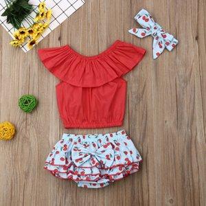 Великобритания Emmababy новорожденный ребенок девочка одежда короткие топы лук цветочные юбки брюки повязка на голову 3 шт. комплект одежды