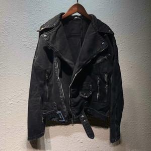 Andys Европейский Джинсовая куртка Cowboy Локомотив джинсовой куртки Мода Zip промышленности мытый пальто Мужчины Женщины куртка HFWPJK167