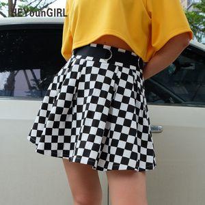 Heyoungirl Pileli Dama Etek Kadın Yüksek Waisted Damalı Etek Harajuku Dans Kore Stili Kısa Mini Etek S416 Sweat