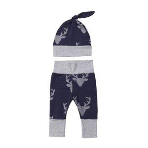 Yenidoğan Bebek Boys Kız Geyikler Pantolonlar Santa Bottoms + Şapka 2pcs Seti Pamuk Tozluklar Uzun Pantolon 50Pcs / Seti Toptan yazdır