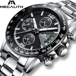 Megalith Marka Erkekler İzle Chronograph Paslanmaz Çelik Saatler Erkekler Su Geçirmez Kuvars İzle Gents Lüks Rahat Iş Kol Saati Y19051603