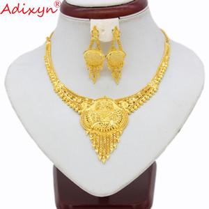 Großhandel Indien Schmuck Set Colliers Halskette Gold Farbe / Kupfer Quaste Ohrringe für Frau Dubai / Ethiopian Party Geschenke N11213