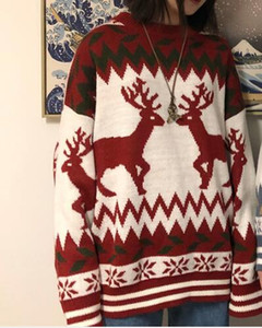 Noël cerf pull couple chandail d'hiver