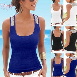 Women Sleeveless Vest Sequin Casual Tank Summer Beach Tops T Shirts Xrq88 Drop Shipping Good Quality