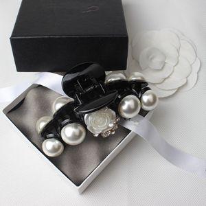 Mode Nette Perle Camellia Klaue Clip Haarnadel Für Frauen Mädchen Kristall Prinzessin Clip Party Horseail Zubehör Geschenk 2pcs / lot