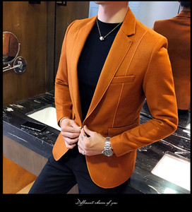 Wollmischung Blazer Men 3 Solid Color, Schwarz, Grau, Orange Business beiläufige Mens Vintage-Blazer-Klage-Jacken-Mann-Mann-Klage-Mantel Plus Size