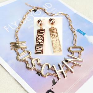 Mos mode boucles marque collier femmes dames pleine T fixées lettre de diamant boucles d'oreilles pendentif en argent d'or