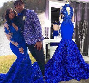 Royal Blue High Neck Русалка Пром платье 3D Цветы Кружево Аппликация Sheer Длинных рукава Африканской арабские Формальная партия вечерние платья
