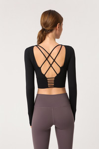 Frauen Zurück Straps Gym Yoga Crop Tops Yoga Shirts Langarm Trainings Top Fitness Laufen Sport-T-Shirts