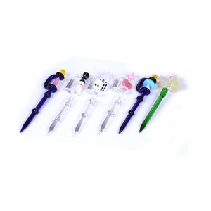 2020 Colorful Dab Tool Glass Dabber Pink Stick Carve Dab Tools Wax tool Carb Cap for quartz banger Dad Rigs Bong