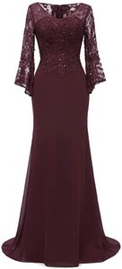 Women's Ruffle Lace Sleeves Bodycon Mermaid Long High Neck Evening Party Gown Robe De Soiree Formal Dress Abendkleider Vestidos