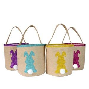 Hediye Yumurta Avı Çanta Kabarık kuyrukları Baskılı Tavşan Tuval Oyuncak Kepçe Tote Taşıma Çocuklar Tuval Pamuk Paskalya Bunny Basket Çanta