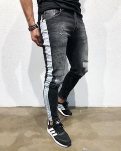 Mens 20ss el diseñador Jean Pantalones rotos negro a adelgazan los pantalones vaqueros largos flacos Calle Pantalones