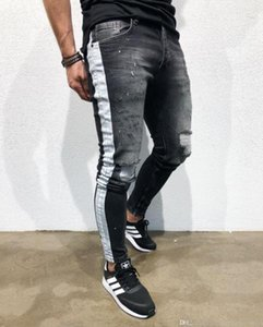 Mens 20ss Designer Jean Hosen Zerrissene Schwarz Distressed Slim Fit Jeans Lange dünne Straße Hose