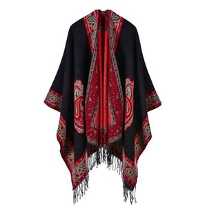 Tourism Thick Warm Women Cape National Style Cashmere Tassel Cashew Flower Windproof Scarf Shawl Air Conditioning Room Poncho