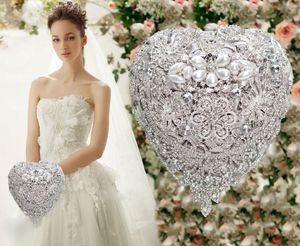 18CM bouquets de mariée diamant pleine de strass luxe ornement embellies bouquet fleurs de mariage