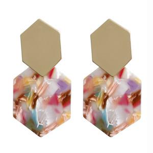 De nouvelles simples boucles d'oreilles en métal diamant plaque hexagonale géométrique acétate pendentif acrylique longues boucles