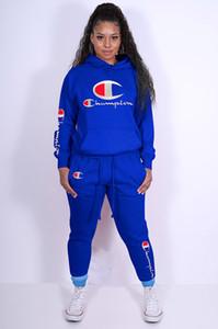 2020 Campeões mulheres hoodies calças 2 set piece plus size treino queda roupas de inverno sportswear leggings roupas sweatsuit outwear moda