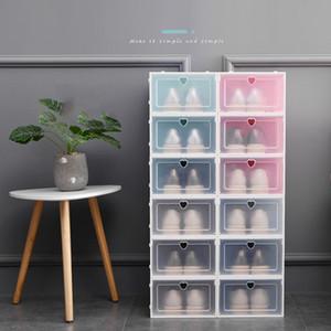 Engrossar Virar sapatos Caixa de armazenamento empilhável de plástico transparente caixa de sapato contra pó caixas de sapato transparente cor sólida gaveta grossista DBC VT1018