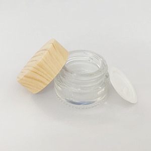 Sample Glass Jar 5ml 5g Wood Grain Plastic Lid Glass Box container OEM case clear dab tool for wax Cream oil cosmetic jar