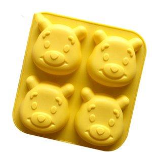 Savon silicone 3D Mold 4 Cartoon Ours de gâteau de lune moule ours cuisine cuisson Outil bricolage main facile Démoulage facile à nettoyer wh0183