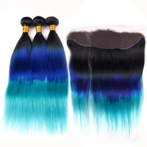 # 1B / Azul / Teal Ombre Em Linha Reta Cabelo Humano Indiano 3 Pacotes e Frontal Black Roots Azul Teal 3 Tone Ombre Lace Frontal Fechamento 13x4 com Tece