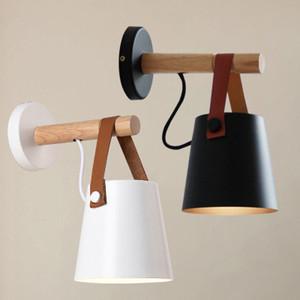 Светодиодные настенные светильники Abajur для гостиной Бра настенное Light E27 Nordic Деревянные пояса Wall Light Белый / Черный