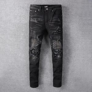 2020 Designer Marke Street In Luxus Mike AMIRI Hip-Hop-Jeans-Denim-Hosen mit Patch-Loch mit Gesäßtasche Unique Style Lastet 28-40