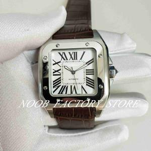 Lussuoso nuovo eccellente qualità sport 100 XL nero di lusso vigilanza meccanica automatica del Mens di 40MM Brown orologi cinturino in pelle da uomo