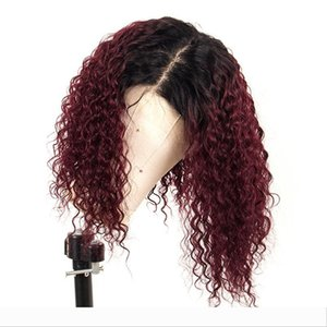 Ombre 99J Red Curly Lace Front Human Hair Wig With Baby Hair Preplucked Brazilian 13X6 Lace Front Wig For Black Women