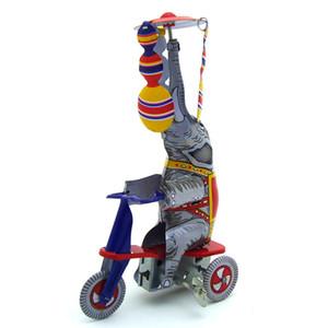 NB desenhos animados Tinplate Wind-Up Toy, elefantes passeio triciclos, Espanhol Acrobacia, ornamento nostálgico, Kid presente Xmas aniversário coletar, MS814,2-1