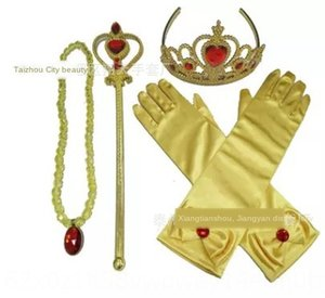 Flowers' baby princess Dress gloves dress long tube Yellow Red Diamond Gloves necklace Crown love Scepter five-piece set
