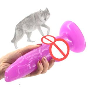 gros animal chien gode noué ventouse loup pénis sex toys pour femmes produits de sexe bon marché plug anal lesbienne flirt sex shop