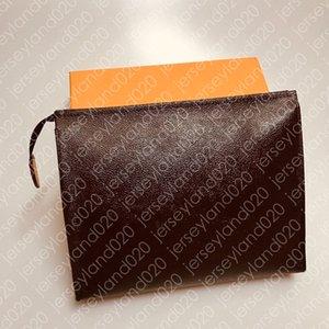 WERKZEUGTASCHE 26 19 15 cm Designer Mode Braune Clutch Kosmetische Geldbörse Beauty Luxury Reisetasche Mini Pochette Zubehör