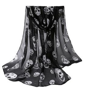 Gros-Automne Femmes Foulard filles Skulls Imprimé Noir longue douce écharpe Châle filles cou écharpe