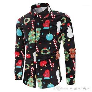 Autunno Desinger Camicie risvolto maniche lunghe stampa floreale Festival Stile Homme Abbigliamento Natale Mens di stile