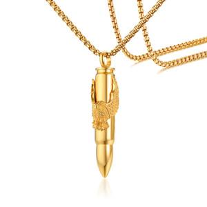 Aigle Collier Bullet Pendentif dans l'armée Eagle Bullet en acier inoxydable Charm Of Peace
