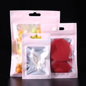 1000pcs Matt rosa translúcido zip-lock folha de embalagem Sacos Light Pink Jewelry ornamentos cabeça Corda USB para escritório sacos de armazenamento