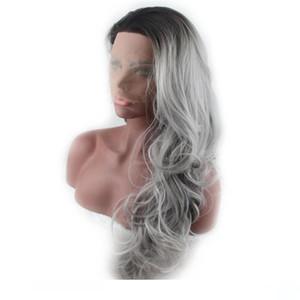 Sintetico Ombre Lace Front wigs ondulato lungo termoresistente Glueless Lacefront nero al grigio sintetico Pizzo Capelli wigss per le donne