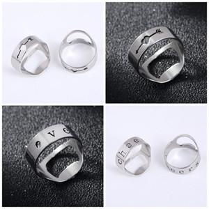 Moda anillo del nudillo de acero inoxidable del abrelatas de letra vaciamiento Botellas Abridores De Finger favor de partido Metal Colores 1LT E1