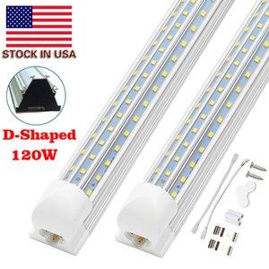 8FT LED ضوء مصباح، 8FT LED محل ضوء 6000K الباردة الأبيض المزدوج الجانب T8 V-الشكل المتكاملة 8 القدم LED أضواء أنبوب، واضح غطاء