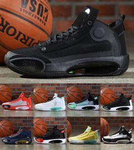 Jumpman الرابع والثلاثون 34 العنب الأرجواني الأزرق الكسوف الفراغ أحذية الأبيض الرجال لكرة السلة لل34S أعلى جودة مصمم تنفس الرياضة أحذية رياضية الولايات المتحدة 40-46
