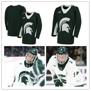 Mens NCAA Big Ten Michigan State Spartans Colegio de hockey jerseys cosido blanca verde modifica Michigan State Spartans Jersey Personal S-3