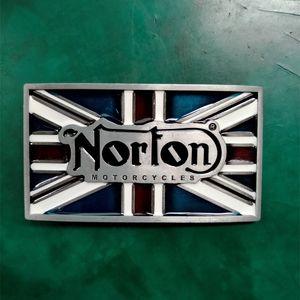 1 Adet İNGILTERE Bayrağı Norton Motosiklet Kovboy Kemer Toka Erkek Kot Için Batı Kemer Kafası Fit 4 cm Geniş Kot Kemerler