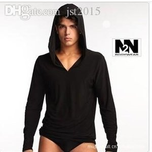 All'ingrosso-Nuovo N2N marca pigiama setslong manica coulisse pigiameria per gli uomini di alta qualità con la seta del cappello di ghiaccio confortevole camicia da notte vestito caldo