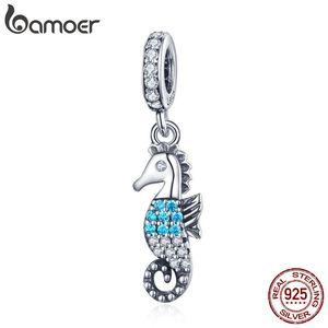 Seahorse nautico Oceano abbagliante Clear Crystal Beads Bracciali Braccialetti Charms ciondolo collana fai da te Moda regalo gioielli donna argento 925
